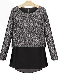 Dalete Women's Long Sleeve Slim Fashion Round Collar Simple Dress