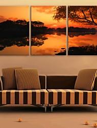 E-Home® Leinwand Kunst Dämmerung See Dekoration Malerei Set von 3