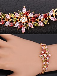 Fancy Luxury AAA+ Cubic Zirconia Shiny Multi color Bracelet 18K Gold Platinum Plated  Link Bangle for Women High Quality