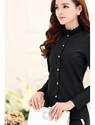 Women's Blue/White/Black Shirt , Casual Ruff Collar Long Sleeve
