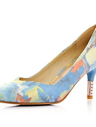 Women's Spring Summer Fall Fabric Dress Stiletto Heel Blue Pink