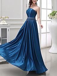 Formeller Abend Kleid Seide - A-Linie - bodenlang - 1-Schulter