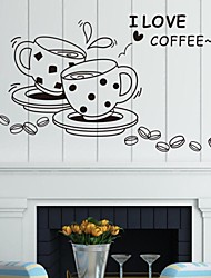 Wall Stickers Wall Decals, Coffee English Words & Quotes PVC Wall Stickers