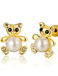 Fashion Lovely Bear Golden Gold-Plated Stud Earrings (Golden)(1Pair)