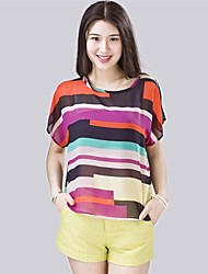 Women's Multi-color Shirt , Round Neck Short Sleeve