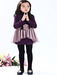Girl's Solid Dress,Cotton Blend Spring / Fall Black / Purple