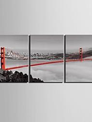 e-FOYER toile tendue art pont peinture décoration ensemble de trois