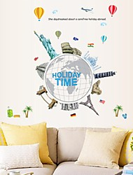 Wall Stickers Wall Decals, Cartoon World Famous Buildings PVC Wall Stickers