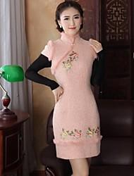 laine millésime mini robe de style chinois mince des femmes (plus de couleurs)
