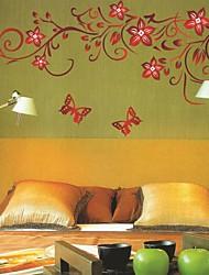 autoadesivi della parete decalcomanie della parete, farfalle romantici oltre adesivi murali fiori in pvc