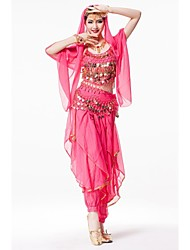 Belly Dance Stage Performance Outfits with Pants Indian Style Costume 4 Pieces
