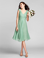 Lanting Bride Knee-length Chiffon Bridesmaid Dress A-line V-neck Plus Size / Petite with Draping / Criss Cross / Ruching