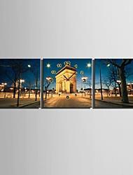 e-home® europeu relógio arquitetura nightscape em lona 3pcs