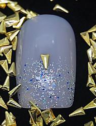 100pcs triângulo metal dourado arte rebite decoração de unhas