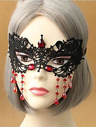 Handmade Black Lace Red Beads Gothic Lolita Mask