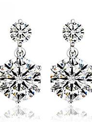 Buloo Women's 925 Silver Shining Inlaid Zircon Earrings