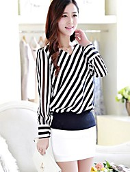Women's Casual/Daily Simple All Seasons / Spring / Summer / Fall / Winter Blouse,Striped V Neck Long Sleeve Blue / Red / Black Thin