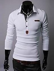 Men's Long Sleeve T-Shirt , Cotton/Cotton Blend Casual Pure