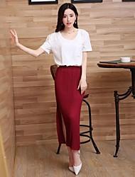 la manera del color sólido de las mujeres delgadas de alta falda de cintura