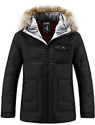 Men's Regular Down Coat , Polyester Long Sleeve