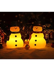 Home Impressions™ 6 Inch Lovely Christmas Snowman With Red/Green Scarf,Real Wax Led Candle With Timer