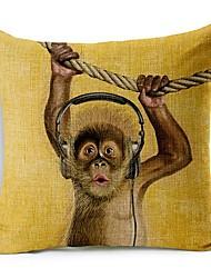 pouco escuta macaco música algodão / linho fronha decorativo