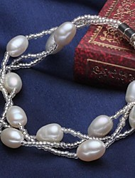 Women's Fashion Fresh Water White Pearl Bracelet With Magnetic Clasps