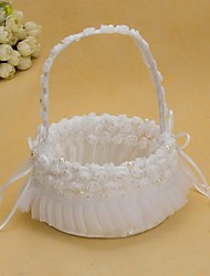 Pretty Wedding Flower Basket With White Organza Rose Flower Girl Basket