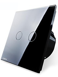 Livolo EU Standard Touch Switch,Black Glass Panel,2 Gang1Way,110-250VAC