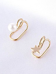 Clip Earrings Pearl Alloy Star Pearl White Golden 1# 2# Jewelry Party Daily Casual