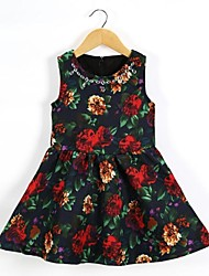 Girl's Dress Princess Dress Retro Flower Print Dress Vest Dress Girls Summer Dress