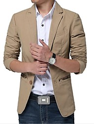Men's Long Sleeve Jacket , Cotton/Polyester Casual/Work/Plus Sizes Pure
