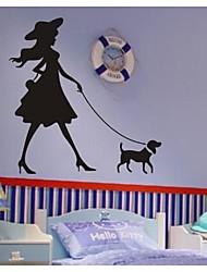 stickers muraux stickers muraux, contemporaine de la petite fille qui marche les pvc chien stickers muraux