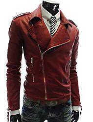 PIKE Men's Turn Down Collar Slim Fitting Short Leather