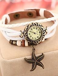 la montre bracelet à quartz bande de cuir pendentif étoile de mer des femmes Mulan (couleurs assorties)