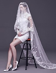 Ivory One Tire Chapel Bridal Veils with Lace Trim with Tiny Floral