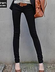 Женские, стройные, черные джинсы