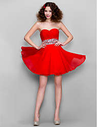 A-Line Sweetheart Short / Mini Chiffon Homecoming Prom Dress with Beading Criss Cross by TS Couture®