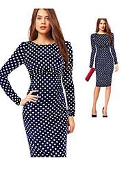 GZ&élégantes pois de i femmes de robe ajustée