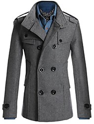 Men's Solid Casual Trench coat Long Sleeve-Black / Blue / Gray