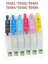 Bloom® T0481-T0486 cartouche d'encre rechargeable pour epson photo r200 / r220 / r300 / R300M / r320 / r340 / RX500 (6 couleurs 1set)