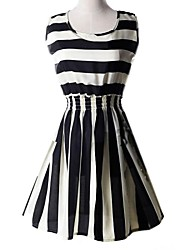Women's Casual/Daily A Line Dress,Striped Above Knee Sleeveless Polyester Summer / Fall