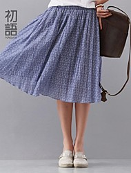 Women's Blue/Gray Skirts , Casual Knee-length