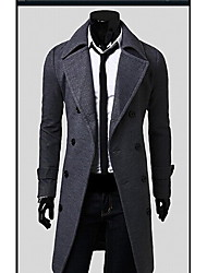 Playgame Men's Casual Double Breast Long Coat