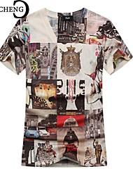 CHICHENG®Men O-Neck Novelty Print Graffiti Short Sleeve Slim Fit Casual Tshirt Hombre  Hip Pop Harajuku Tees Tops