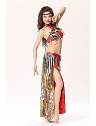 Belly Dance Outfits Women's Performance Cotton / Sequined / Feathers Buttons / Pattern/Print As Picture Belly Dance / PerformanceClasp At