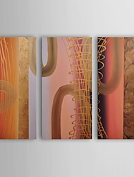 Oil Painting Modern Abstract Tubes of Gold Set of 3 Hand Painted Canvas with Stretched Frame