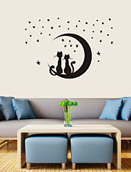 Romantic PVC All Over The Sky Stars Couple Cats Wall Stickers