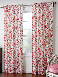 (Two Panels) Bright-Colored  Floral Curtain