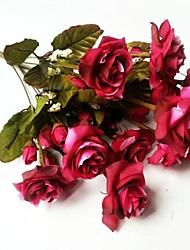 10 tenedor pavo real estilo europeo flor color de rosa de simulación